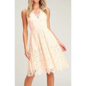 NWT Lulus Love Swept Cream Lace Midi Skater Dress